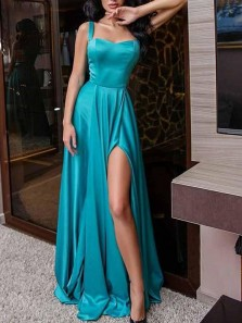 Charming A-Line Sweetheart Open Back Lake Blue Satin Long Prom Dresses with Split,Evening Party Dresses