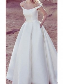 Vintage A-Line Off the Shoulder Open Back White Satin Wedding Dresses,Bridal Gown with Pockets