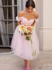 A-Line Off the Shoulder Open Back Pink Tulle Short Bridesmaid Dresses Under 100