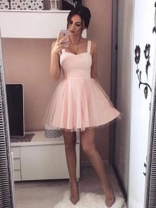 Simple A-Line Straps Open Back Pink Tulle Homecoming Dresses Short Prom Dresses,Cute Cocktail Party Dresses
