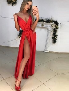 A-Line V Neck Open Back Red Satin Long Prom Dresses with Hight Slit,Evening Party Dresses
