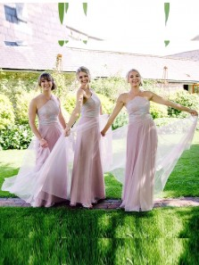 A-Line Halter Open Back Blush Pink Tulle Long Bridesmaid Dresses with Appliques