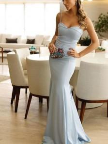 Mermaid Sweetheart Spaghetti Straps Open Back Blue Satin Long Prom Dresses,Evening Party Dresses