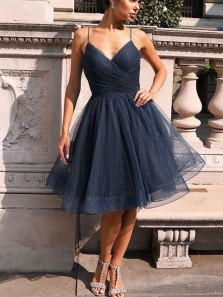 A-Line V Neck Spaghetti Straps Open Back Navy Blue Tulle Short Homecoming Dresses,Short Prom Dresses