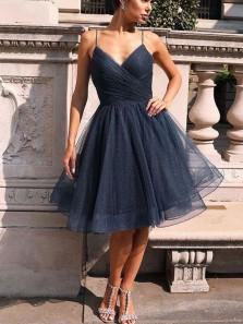 A-Line V Neck Spaghetti Straps Open Back Navy Blue Tulle Short Homecoming Dresses,Short Prom Dresses