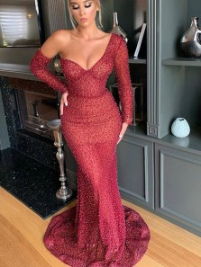 Unique Mermaid One Shoulder Long Sleeve Dark Red Beading Prom Dresses with Train,Formal Evening Party Dresses