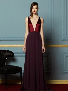 Unique A-Line Deep V Neck Open Back Burgundy Satin Long Prom Dresses with Pockets,Charming Evening Dresses