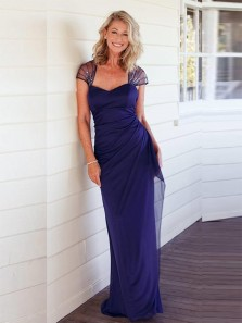 Elegant Sheath Sweetheart Cap Sleeve Navy Blue Chiffon Long Mother of the Bride Dresses,Party Dresses