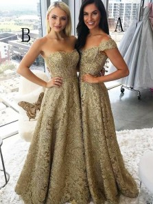 Stunning A-Line Off the Shoulder Sweetheart Open Back Gold Lace Long Prom Dresses A and B.Evening Party Dresses with Pockets