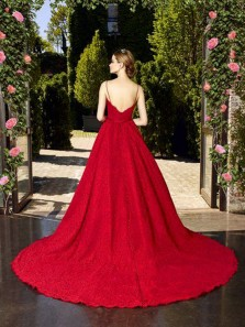 Gorgeous A-Line Sweetheart Spaghetti Straps Open Back Red Lace Long Prom Dresses with Pockets,Formal Evening Party Dresses