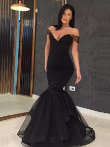Sexy Mermaid Off the Shoulder Open Back Black Organza Long Prom Dresses with Beading,Charming Evening Party Dresses