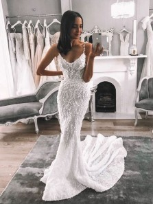 Gorgeous Mermaid Spaghetti Straps Open Back White Lace Wedding Dresses