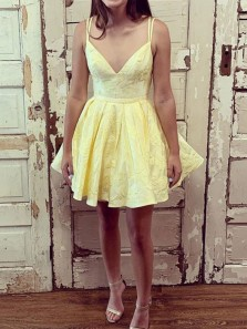 Cute A-Line V Neck Double Spaghetti Straps Yellow Satin Short Homecoming Dresses
