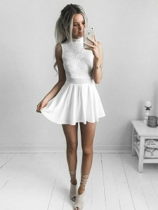 Cute A-Line High Neck White Chiffon Short Homecoming Dresses,Floral Lace Cocktail Party Dresses