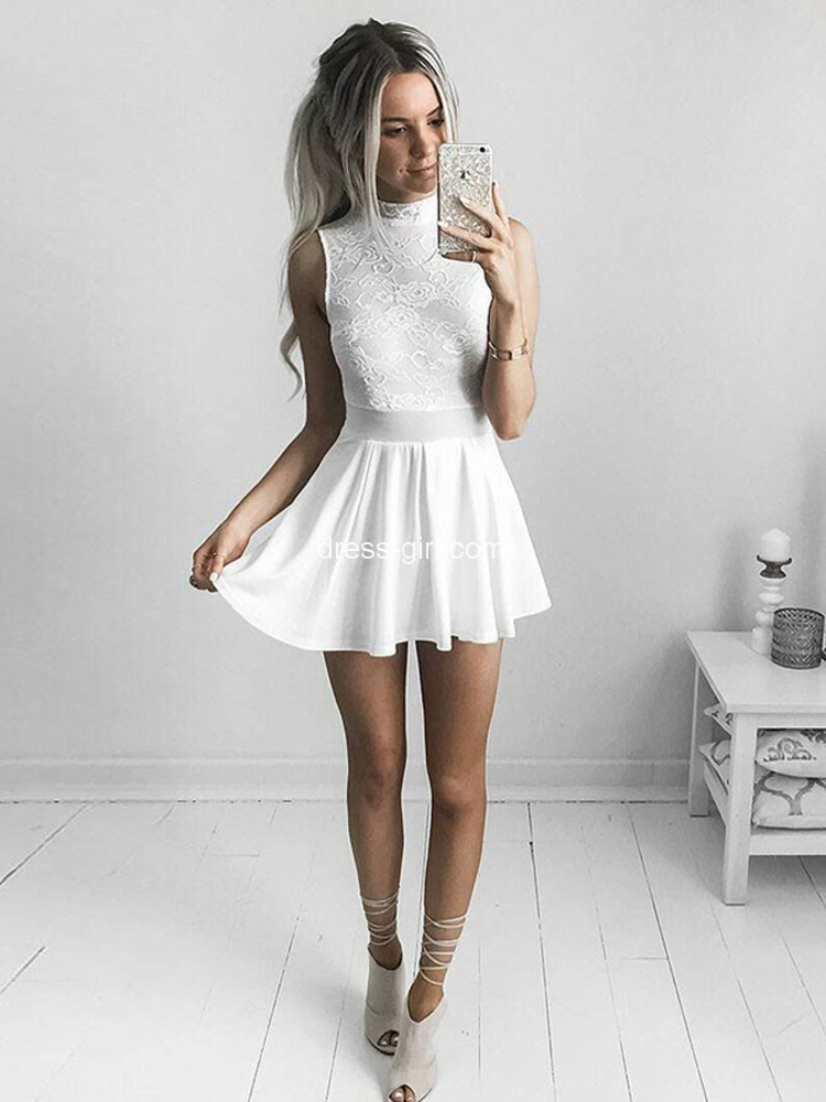 Cute A Line High Neck White Chiffon Short Homecoming Dressesfloral Lace Cocktail Party Dresses