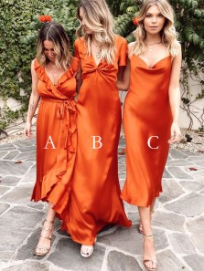 Gorgeous Sheath Mismatched Dark Orange Silk Satin Bridesmaid Dresses