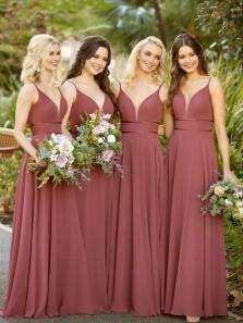 Elegant A-Line V Neck Spaghetti Straps Cinnamon Red Chiffon Long Bridesmaid Dresses Under 100