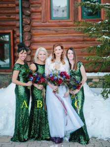 Sparkly Mermaid Round Neck Cap Sleeve Green Sequin Long Bridesmaid Dresses