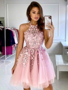 Pretty A-Line Halter Blush Pink Tulle Short Homecoming Dresses with Appliques