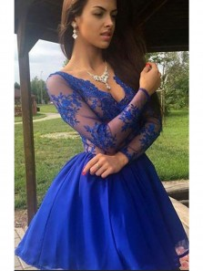 Sexy A Line V-Neck Royal Blue Lace Short Prom Dress,Long Sleeve Homecoming Dress