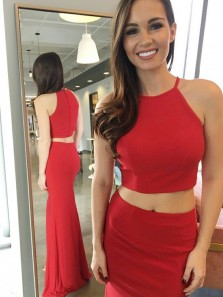 Sexy Two Piece Halter Red Elastic Satin Mermaid Long Prom Dresses with Side Split,Evening Party Dresses
