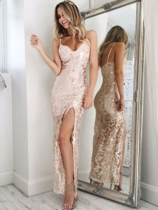 Charming Sheath Spaghetti Straps Open Back Rose Gold Sequins Long Prom Dresses with Split,Formal Party Dresses