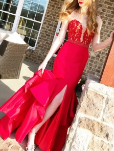 Modest Mermaid Sweetheart Open Back Red Satin Long Prom Dresses with Lace,Charming Evening Party Dresses