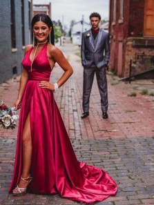 Charming A-Line Halter V Neck Open Back Red Satin Long Prom Dresses with High Split,Evening Party Dresses