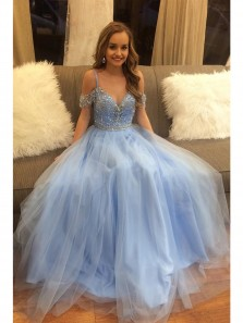 Cute Off Shoulder V Neck Delicate Beading Light Blue A-line Floor Length Custom Long Evening Prom Dresses