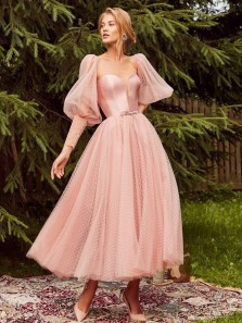Marvelous A-Line Sweetheart Long Sleeves Pink Tulle Ankle Length Prom Dresses