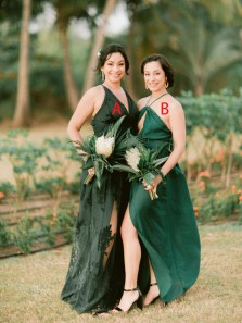 Stylish A-Line V Neck Open Back Green Lace Outdoor Wedding Guest Dresses,Appliques Bridesmaid Dresses