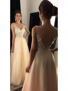 V-Neck Prom Dresses With Appliques, Beaded Long A-line Tulle Prom Dresses, Long Evening Dress