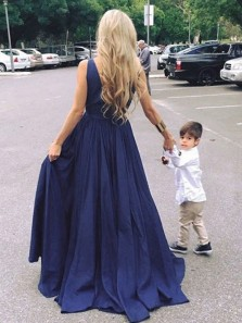 2019 New Charming Prom Dresses Deep V Neck Navy Blue Satin Long Evening Party Dresses