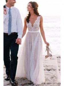 Elegant Scoop Neck Lace A Line Tulles Flowy Beach Wedding Dress
