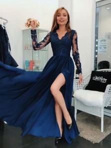 Elegant A-Line V Neck Long Sleeve Navy Blue Satin Long Prom Dresses with Appliques,Charming Formal Party Dresses