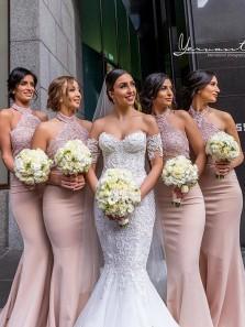 Modest Mermaid Halter Open Back Blush Elastic Satin Long Bridesmaid Dresses with Lace