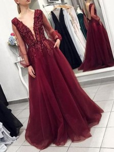 Charming A-Line V Neck Long Sleeve Backless Burgundy Tulle Burgundy Long Prom Dresses with Beading,Formal Party Dresses