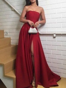 Simple A-Line Strapless Open Back Dark Red Satin Long Prom Dresses with High Split,Evening Party Dresses