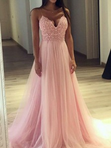 Stylish A-Line V Neck Spaghetti Straps Open Back Pink Tulle Long Prom Dresses with Appliques,Evening Party Dresses