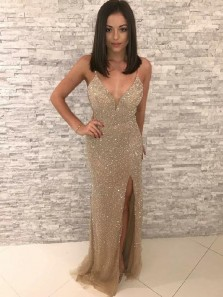 Charming Sheath V Neck Open Back Champagne Sequins Long Prom Dresses with Slit,Formal Pageant Dresses