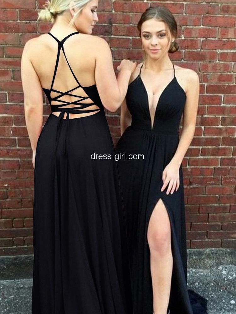 55b7fa5237 Sexy A-Line V Neck Criss Cross Back Black Chiffon Long Prom Dresses with  Side Split,Evening Party Dresses