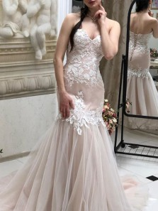 Stylish Mermaid Sweetheart Lace-up Blush Tulle Long Prom Dresses with Appliques,Graduation Dresses