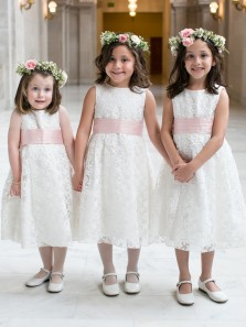 Cute A-Line Round Neck White Lace Flower Girl Dresses with Pink Bow
