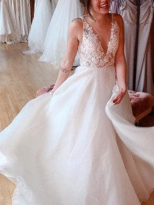 Charming A-Line V Neck Open Back White Lace Wedding Dresses