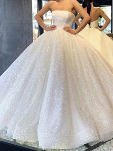 Sparkly Ball Gown Strapless Open Back White Sequins Long Prom Dresses,Girls Junior Graduation Gown,Quinceanera Dresses