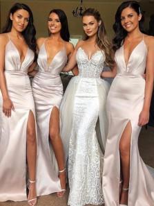 Charming Mermaid Spaghetti Straps V Neck Open Back Ivory Satin Long Bridesmaid Dresses