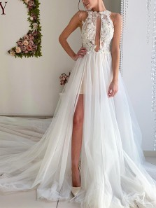 Stunning A-Line Round Neck Open Back White Tulle Lace Wedding Dresses with Train