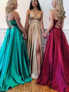 Simple A-Line V Neck Cross Back Green Champagne Burgundy Satin Long Prom Dresses with Split,Evening Party Dresses