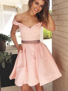 Classy A-Line Off the Shoulder Pink Satin Short Prom Dresses with Pockets,Beaded Homecoming Dresses