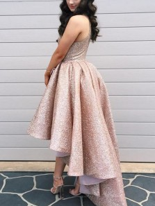Unqiue A-Line Round Neck High Low Blush Sequins Prom Dresses,Evening Party Dresses